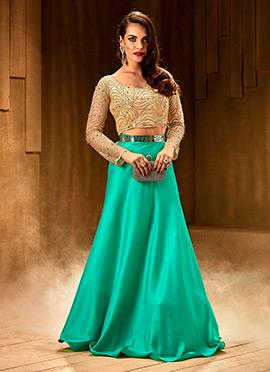 Beige N Turquoise Indowestern Skirt Set