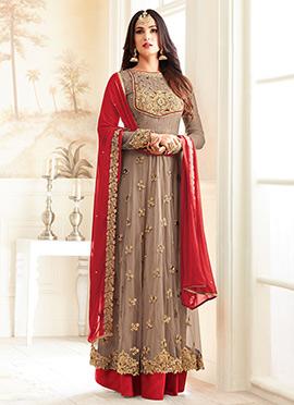 Beige Net Abaya Style Anarkali Suit