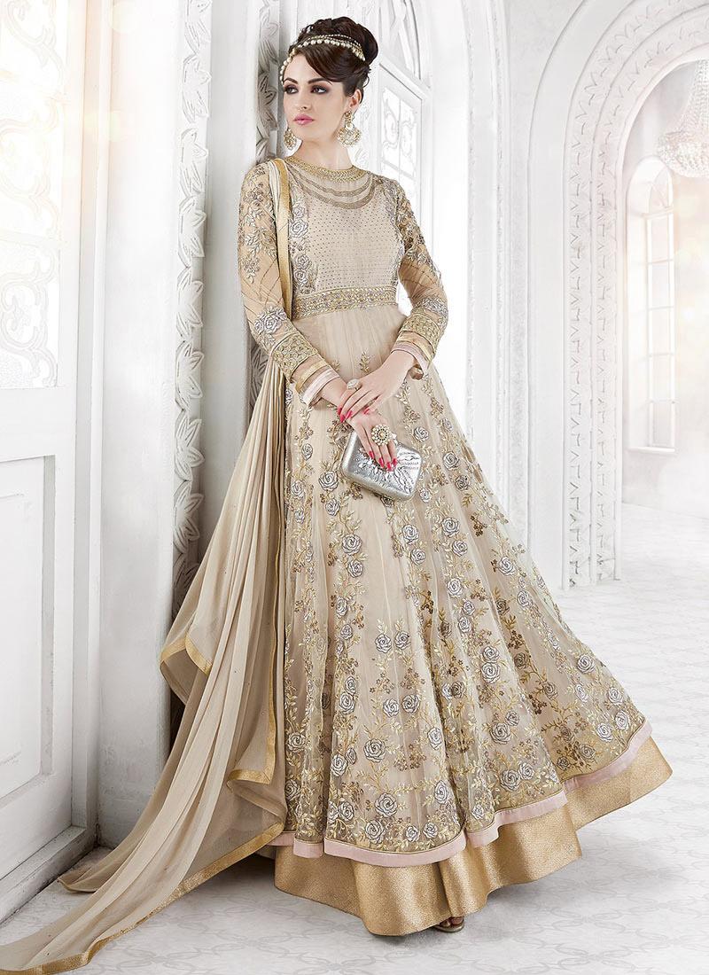 98561a18de Buy Beige Net Abaya Style Anarkali Suit, Embroidered, anarkali suit ...