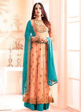 Light Orange Net Anarkali Suit