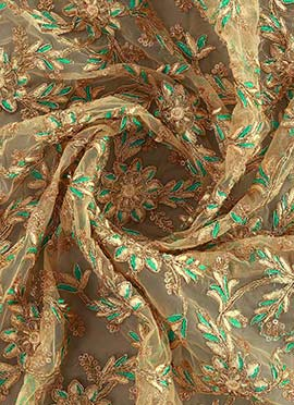 Beige Net Embroidered Fabric