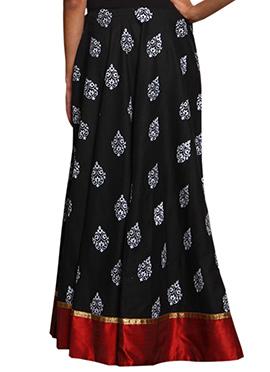 Black Block Printed Skirt