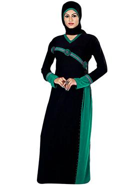 Black Crystals Enhanced Abaya