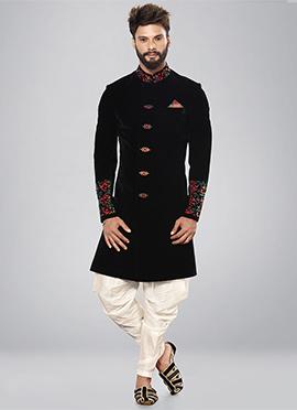 Black Embroidered Indowestern Sherwani