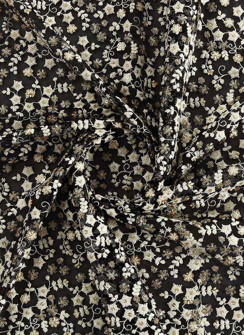 Buy Black Embroidered Net Fabric Sequins Embroidered