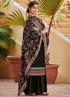 Black Embroidered Palazzo Suit