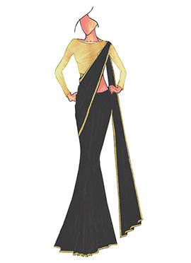 Black Georgette saree with Cream Art Dupion Silk B