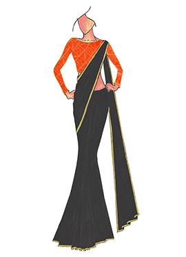 Black Georgette saree with Orange Mogra Silk Blous