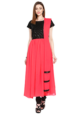 Black N Dark Coral Pink Anarkali Suit