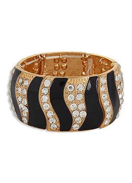 Black N Gold Colored Stone Studded Bracelet