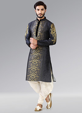 43d40fee0f1 Black N Golden Art Silk Kurta Pyjama