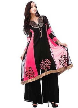 Black N Pink Georgette Plus Size Kurti