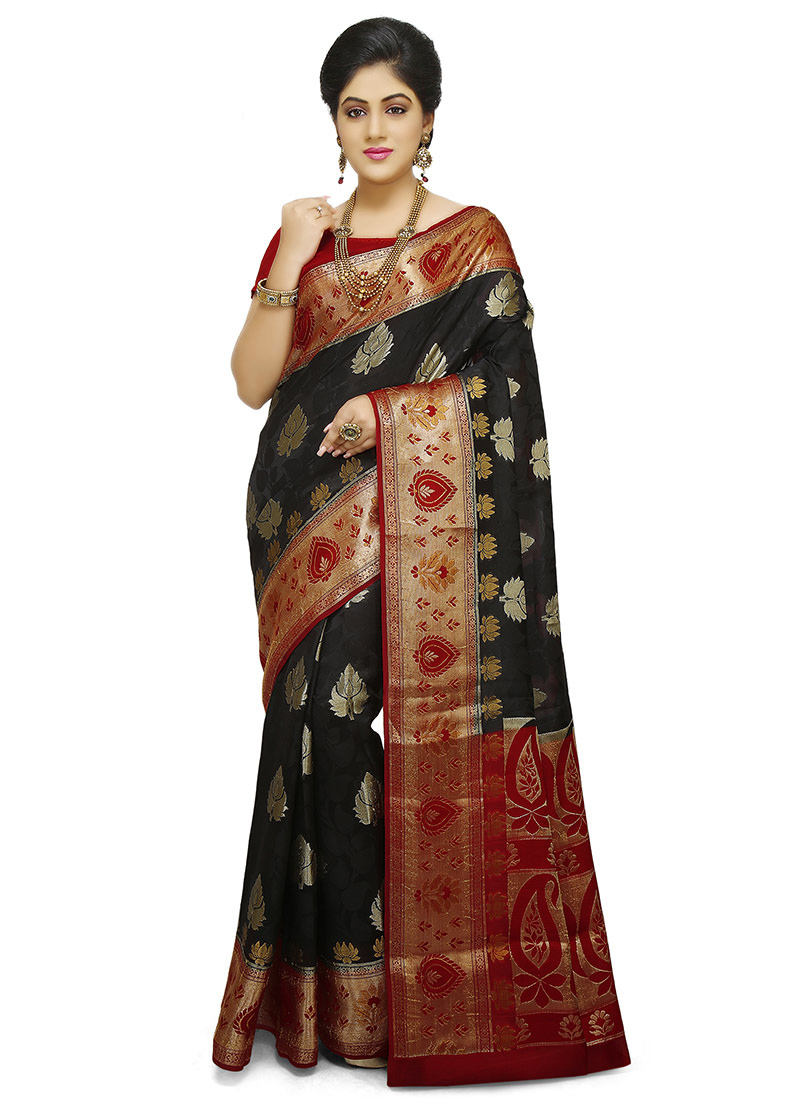 1295fd780dcf9b Buy Black Pure Benarasi Silk Saree, Benarasi , Zari, sari Online ...