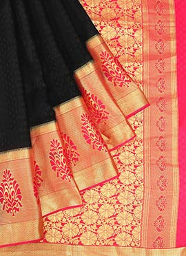 Black Pure Mysore Silk Jacquard Saree