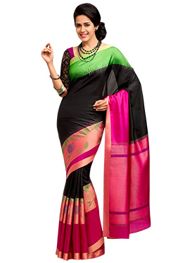 Black Pure Silk Handloom Saree