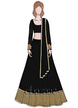 Black Sequins Embroidered Lehenga Set