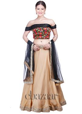 Black Sequin Embroidered Off Shoulder Lehengha Set