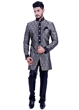 Black Silk Brocade Indowestern Sherwani