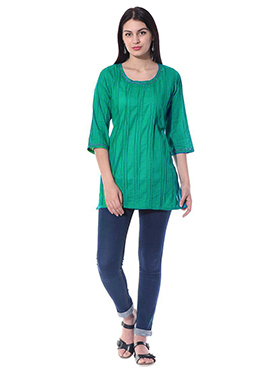Blended Cotton Sea Green Top