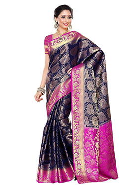 Navy Blue Art Kancheepuram Silk Saree