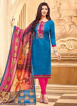 Blue Art Silk Churidar Suit