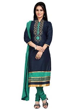 Blue Blended Cotton Churidar Suit