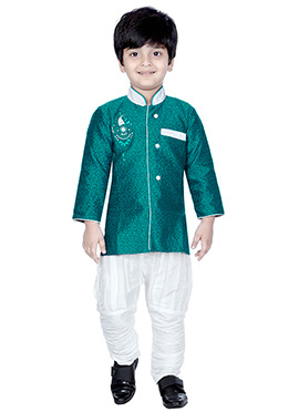 Turquoise Green Style Kids Sherwani
