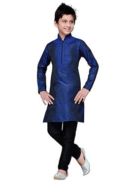 Blue Brocade Embroidered Teens Kurta Pyjama