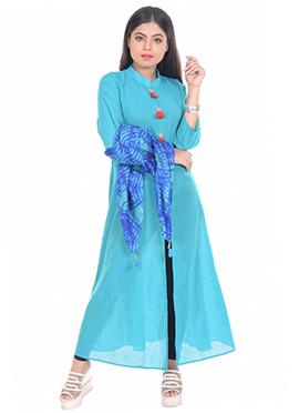 Blue Cotton Anarkali Suit