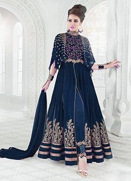 Blue Cotton Net Anarkali Suit