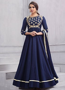 Blue Embroidered Anarkali Gown