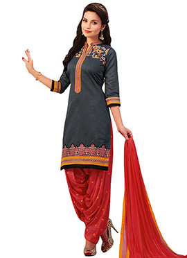 Grey Embroidered Patiala Suit
