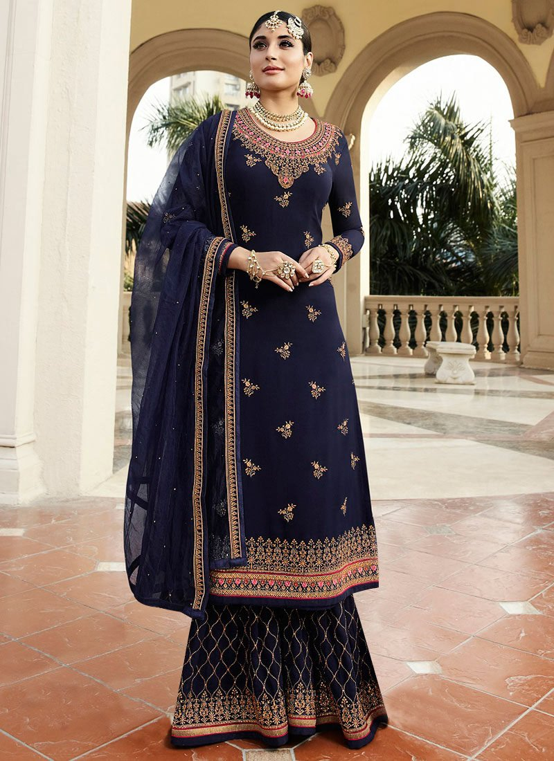 1a85aca84be Buy Blue Embroidered Sharara Suit