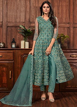 Details about  /Stylish Fashionable Yellow /& Green Cotton Anarkali Dress Calf Length Dress