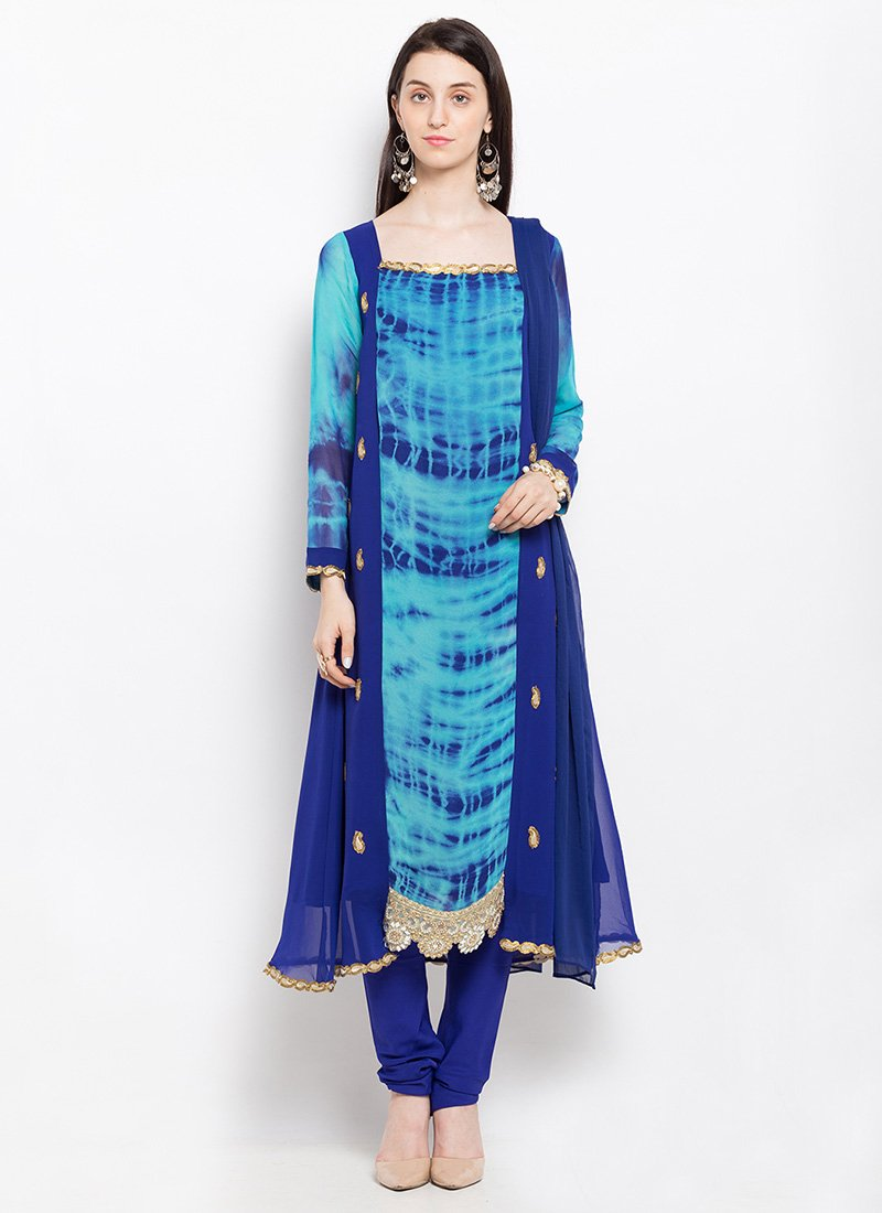 Buy Blue Georgette Anarkali Suit, Embroidered , Tie N Dye, anarkali ...