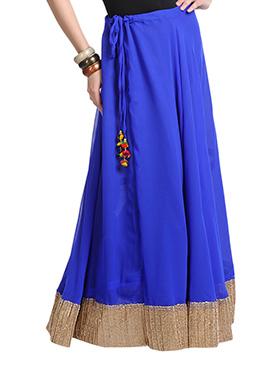 Blue Georgette Gota Skirt
