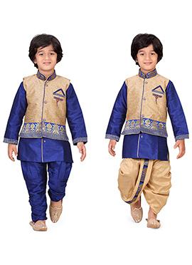 Blue N Beige Kids Dhoti Kurta N Bandi Set Combo