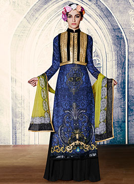 Blue N Black Embroidered Palazzo Suit
