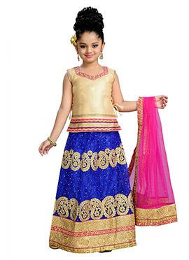 Blue N Golden Net Kids Lehenga Choli