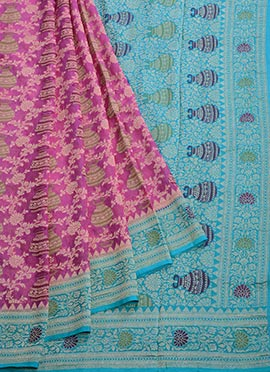 Blue N Magenta Pure Chiffon Saree