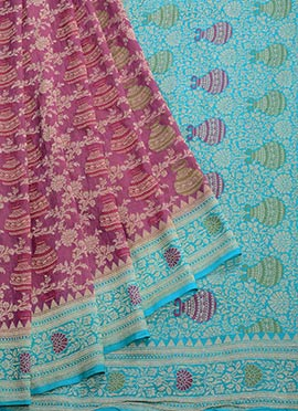Blue N Pink Pure Chiffon Saree