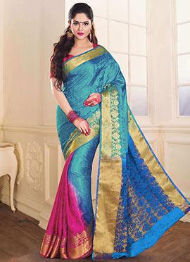 Blue N Pink Tussar Silk Jacquard Saree