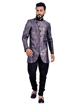 Blue N Purple Breeches Sherwani