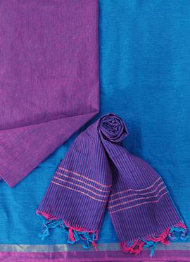 Blue N Purple Pure Cotton Dress Material