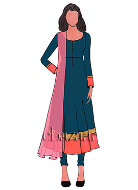 Blue Opal Cotton Anarkali Suit