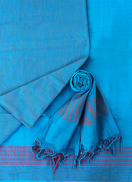 Blue Pure Handloom Cotton Dress Material