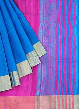 Blue Pure Raw Silk Saree