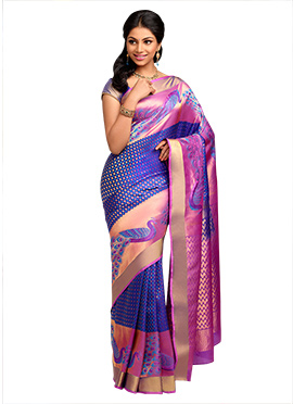 Blue Pure Silk Handloom Saree