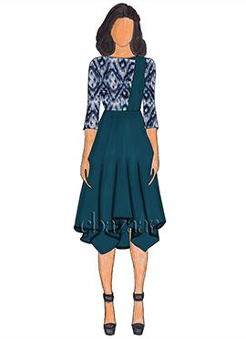 Blue Rayon Muslin Indigo Handkerchief Style Tunic