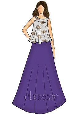 Blueprint Taffeta Indowestern Skirt Set